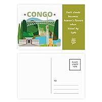市の建物コンゴ川像 詩のポストカードセットサンクスカード郵送側20個