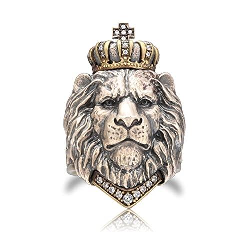 Lion King Crown Ring Punk Animal para Hombres Joyería de Hip Hop