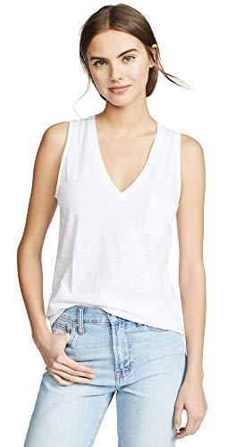 Madewell Women's Whisper Cotton V Neck Pocket Tank, Optic White, Large