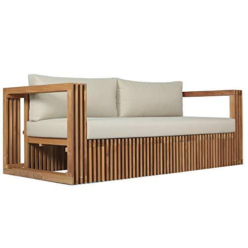 Teako Design Lounge Sofa 3-Sitzer Loppio Teakholz massiv mit Auflagen Wetterfest robust Gartensofa Gartencouch Couch