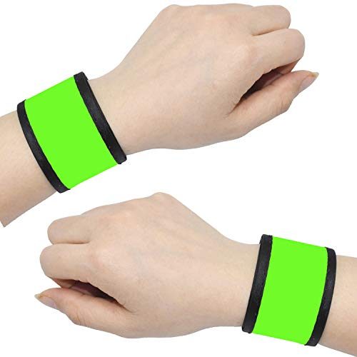 LED Slap Bracelets Light Up Armbands Glow in The Dark Fashing Wristbands Wrist Bands Safety Reflective Running Gear Lights for Runners Walkers Walking Joggers Jogging, Fits Men Women Kids (2 - Green)
