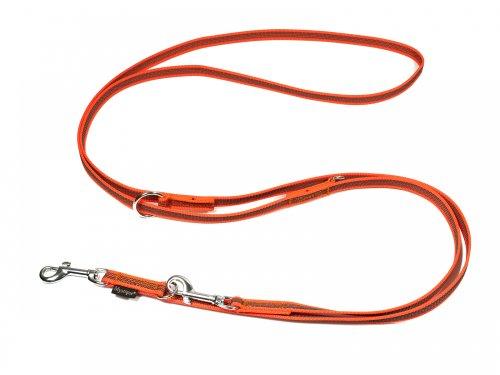 Mystique® Gummierte Umhängeleine Leine 15mm Standard Karabiner neon orange 2,5m