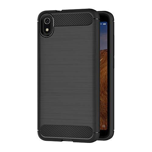AICEK Hülle Compatible Xiaomi Redmi 7A, Schwarz Silikon Handyhülle für Xiaomi Redmi 7A Schutzhülle Karbon Optik Soft Hülle (5,45 Zoll)