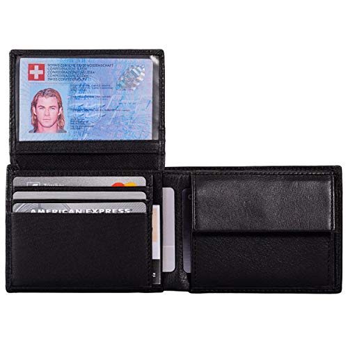 DiLoro Wallets for Men Bifold RFID Leather Mens Wallet Flip ID Coin Compartment (Midnight Black)
