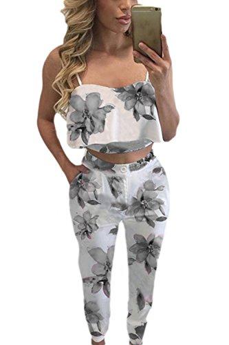 La Mujer 2 Piezas Conjunto Volantes Correa De Espagueti Crop Top Floral Print Largos Pantalones Conjuntos Set Grey2 M