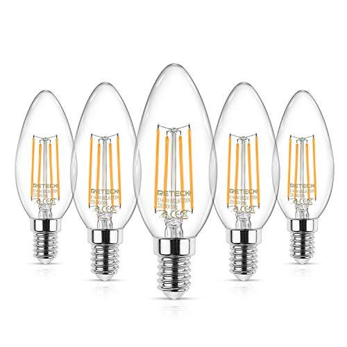 Reteck E14 Kerze LED Lampe, 550LM, 4W ersetzt 50 Watt, Warmweiß 2700K, LED Birne als Kolbenlampe, Glas, E14 Glühfaden Classic kerzenlampe, kerzenform e14 led birne, 5er Pack