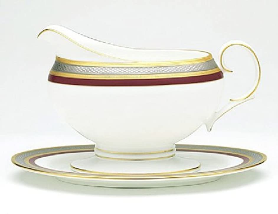 Noritake Ruby Coronet 2-Piece Gravy Boat with Tray, 16-ounce