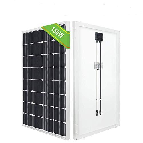 ECO-WORTHY 12V 150W Mono Panel Generan 0.6Kwh / día, Solar Para Sistema Fuera de la Red Carga de la Batería de Camper Van Trailer y Más