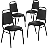 Flash Furniture 4 Pk. HERCULES Series Trapezoidal Back Stacking Banquet Chair in Black Vin...