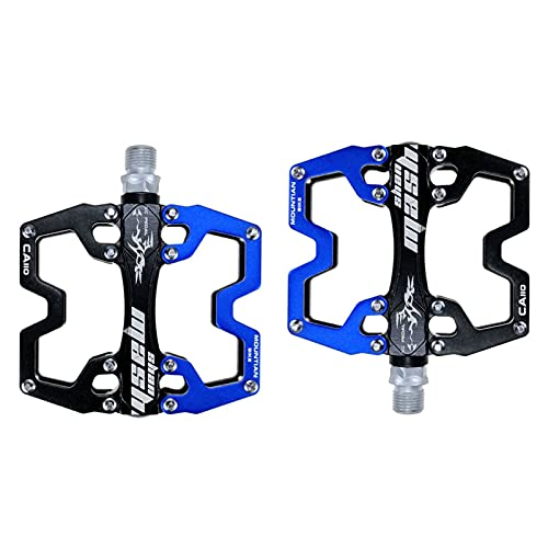 GLYIG Mountain Bike Pedals of Lightweight, Specialized 9/16' Sealed Bearings Ultra Strong CNC Machined Alloy Bicycle Non-Slip Pedal, Platform Pedals for BMX MTB (Color : Black blue)