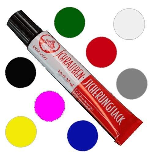 8 x Sicherungslack - Schraubenkleber - Schraubensicherung 20 ml. in Tube (je 1 x pink, grün, rot, grau, blau, schwarz, gelb, transparent)