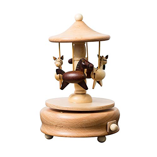 No-branded HMXCC Music Box Wooden Retro Dance Sky Castle Craftwood Windmill Musical Box Home Decoration