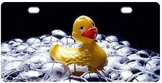 "Fashionable Novelty Tag Cute Rubber Ducks Swimming Bubbles Durable Aluminum Car License Plate 12"" X 6"""