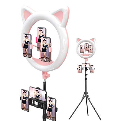 ZJM Kit De Luz De Anillo De Oreja De Gato De 20 Pulgadas, Anillo De Luz LED para Selfie con 3 Soportes para Teléfono, Atenuación Continua De 3000-6500 K, para Transmisión En Vivo/Youtube/Maquillaje