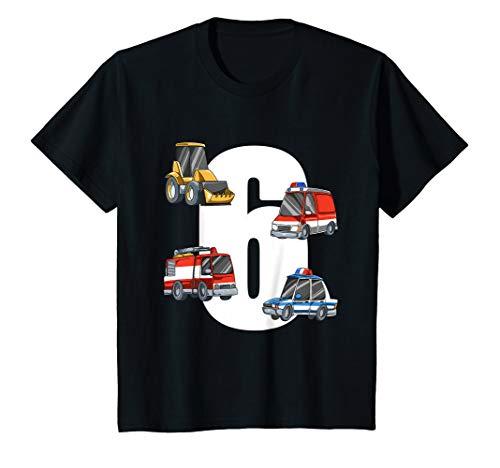 Kinder Rettungswagen und Bagger - 6 Jahre Kindergeburtstag T-Shirt