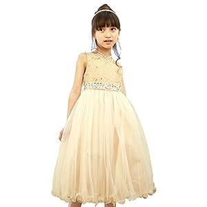 子供ドレス 003018 女の子 キッズ ジュニア [リトルプリンセス] Little Princess ゴールド 150cm