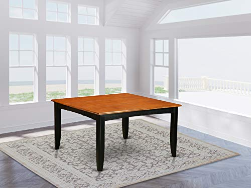 East West Furniture PFT-BLK-T Butterfly Leaf Parfait Square Table - Cherry Table Top and Black Finish Attractive 4 Legs Hardwood Wood Table