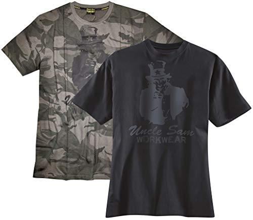 T-Shirt mit Rundhals und Frontdruck, Farbe anthrazit/schwarz, Gr.3XL