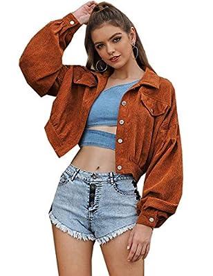 Firehood Women's Casual Fashion All Match Lapel Collar Short Corduroy Coat Jacket Outerwear (Medium, Brown) by