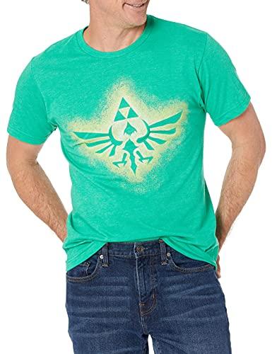 Nintendo Men's Soaring Triforce T-Shirt, Kelly Heather, Medium