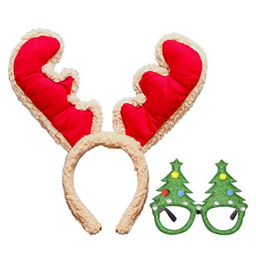 She's Shining Plush Reindeer Antlers Headband and Christmas Tree Glasses Adults Kids Party Costume Gift