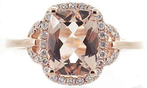 Gin & Grace 14K Rose diamante natural Oro (I1, I2) y de talla cojín Morganita compromiso de la boda Proponen Promise Ring para la Mujer