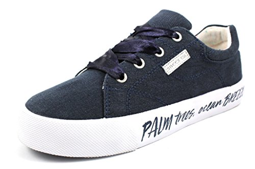 SOCCX Damen Canvas Sneaker mit Leichter Plateausohle