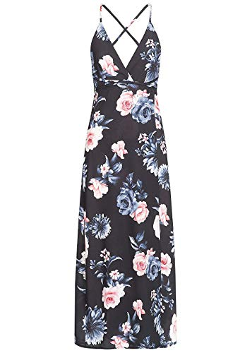 Styleboom Fashion® Damen Longform Kleid Wrapped Maxi Dress Cross Back Side Flower Print schwarz blau, Gr:XS