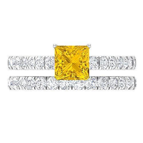 1.68 CT creado en laboratorio anillo de zafiro amarillo, D-VSSI Moissanite anillo de novia, anillo de compromiso de 5,5 mm corte princesa, 18K Oro blanco, Size:EU 48