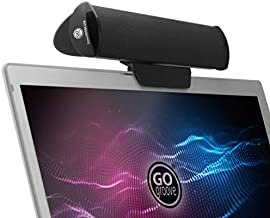 GOgroove SonaVERSE USB Speakers for Laptop Computer - USB Powered Mini Sound Bar with Clip-On Portable External Speaker Design for Monitor, One Cable for Digital Audio Input and Power (Black)