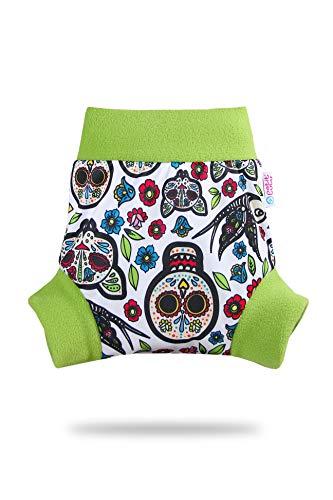 Petit Lulu – Pañales de envoltura | 5 tamaños | cambio fácil y rápido | reutilizable y lavable | resistente al agua | Fabricado en Europa multicolor Mexican Skulls (on White) Talla:size M