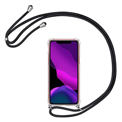 AROYI Handykette Handyhülle für iPhone 11 Hülle mit Kordel zum Umhängen Necklace Hülle mit Band Schutzhülle Transparent Silikon Acryl Case mit extra Fallschutz Stoßdämpfer für iPhone 11 6.1 (Schwarz)