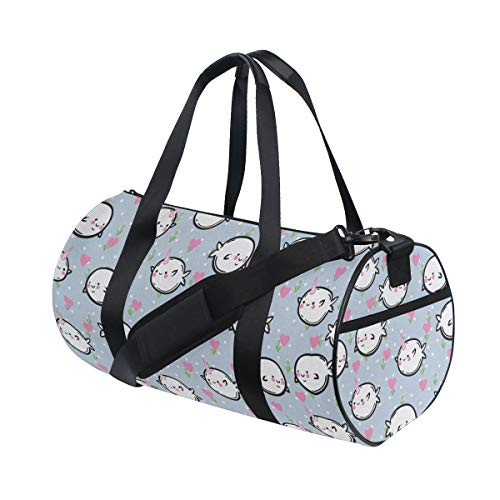 FAKAINU Travel Tote Duffel Bag Colorful Polka Dotted And Heart Pattern Background With Cartoon Character Whales Gym Bag Outdoor Travel Sports Shoulder Weekend Carry on Handbag
