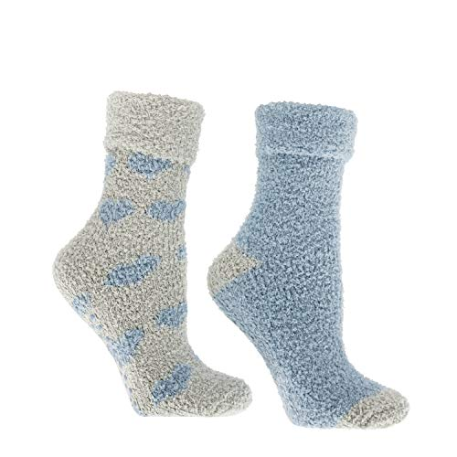 MinxNY Women's Non-Skid Warm Soft and Fuzzy Lavender Infused 2-Pair Pack Slipper Socks with Lavender Sachet Gift, Hearts, Grey & Ballad Blue