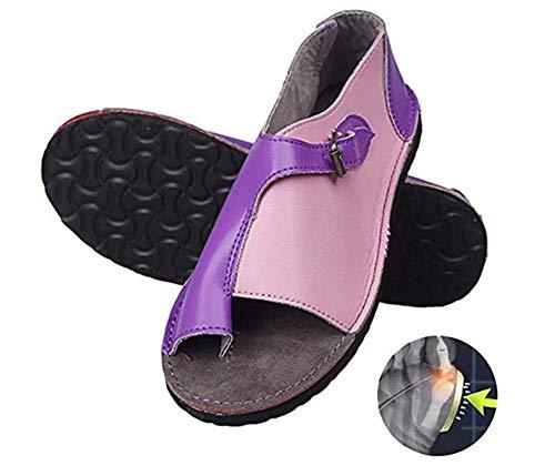 WODETIAN Sandalias de Vestir Correctoras Mujeres Zapatos Ortopédicos Juanete Corrector Cómoda Plataforma Cuña Casuales De Las Señoras del Dedo Gordo del Pie Corrección Sandalias,Púrpura,40