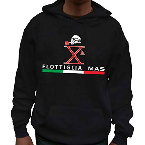 Copytec Flottiglia Mas Italia - Felpa con cappuccio con scritta 'Flottiglia Mas Italy', codice articolo 7618 Nero L