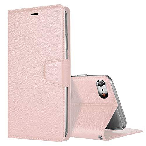 iPhone SE ケース 第2世代 iPhone 7 ケース iPhone8 ケース 手帳型 レザー 耐衝撃 全面保護 サイドマグネット カード収納 スタンド 機能 カバー シンプル 高級 スマホケース ローズゴールド