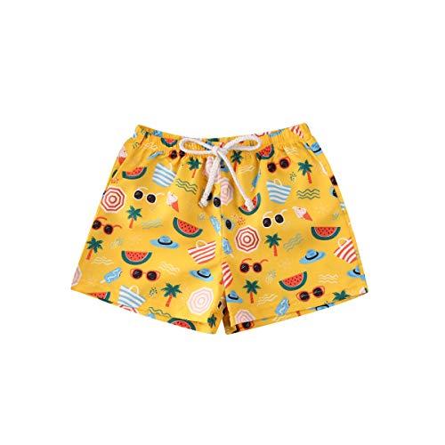 BriskyM Niño Bañador Natación Shorts de baño para niños Fruta de piña Impresión de Dibujos Animados de la Hoja Casual Board Shorts Trajes de baño Edad 0-4 años (Fruit, 3-4Years)
