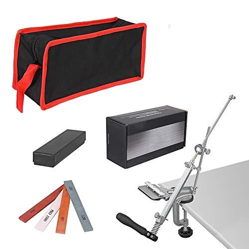 KKTECT Affilacoltelli Whetstone Affilacoltelli professionale Sistema professionale di affilatura dei coltelli Design Flip con rotazione a 360 ° in acciaio inossidabile con 4 Whetstones