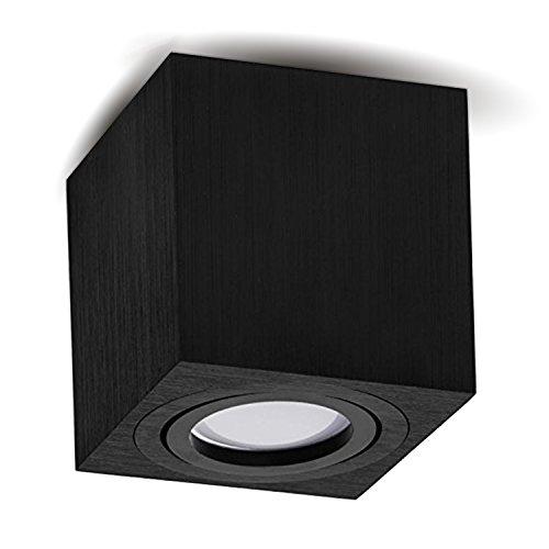 JVS Aufbauleuchte Aufbaustrahler Deckenleuchte Aufputz Led Milano GU10 Fassung 230V Eckig Schwarz Schwenkbar Deckenleuchte Strahler Deckenlampe Aufbau-lampe CUBE Downlight aus Aluminium