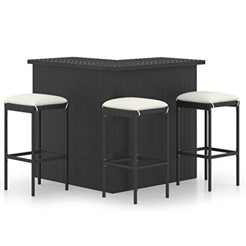 vidaXL Bar-Set für Garten, 4 Teile und Sitzkissen, Stuhl, Terrasse, Bistro, Möbel, Rattan, Kunststoff, Schwarz