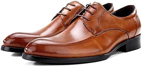 LHLWDGG.K zapatos De Fiesta Formal Del Vestido De Los hombres zapatos rojoondos De La Boda Novia De La Boda, marrón, 7.5