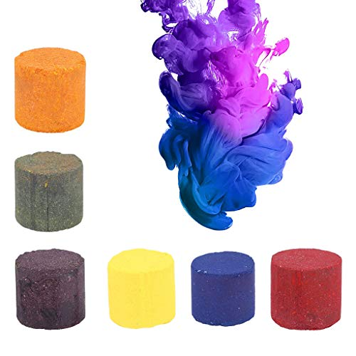 LIANZHIJIE 6Pcs Multicolor Smoke Cake Round Colorful Fog Effect Maker Stage Show Photography Film Background Aid Toy Party Props, for Holi Party, Color Run, Birthday Party, Photo Shoot