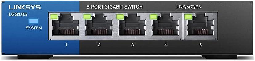 Linksys スイッチングハブ LAN 5ポート 10 / 100 / 1000Mbps ギガビット 金属筺体 静音設計 設定不要 5年保証 LGS105-JP-A