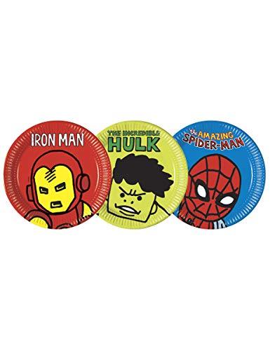 Marvel Avengers 78407 Grandes assiettes en papier Vert 23 cm 8 ct