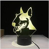 3Dイリュージョンナイトライト 動物の犬 スマートタッチ LED3Dキッズおもちゃベビースリープデスクランプ寝室の装飾ベッドサイドスマートタッチ7色変化する調光可能、女の子の男の子のための最高のおもちゃの誕生日