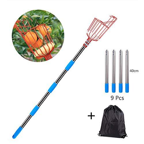 QHWJ Fruit Picker, 12FT Fruitage Picker Pole Et Fruit Picker Panier, cueillette des Fruits Équipement avec Sac de Rangement