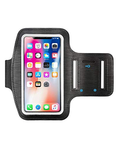 """Insten Outdoor Sports Running Armband with Key Holder Compatible with iPhone SE 2020 SE2/8/7/ 6S (Up to 5.67"""" x 3.14"""") - Adjustable Strap Fits 8.5"""" to 15.5"""" Arm Circumferences, Black"""