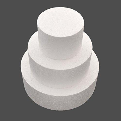 Gemini_mall Kuchenattrappe, rund, aus Polystyrol, gerade Kante, in den Größen 10,2cm, 15,2cm und 20,3cm weiß