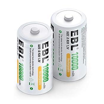 EBL D Size Rechargeable Batteries D Cell 10000mah NiMH Battery 2 Counts
